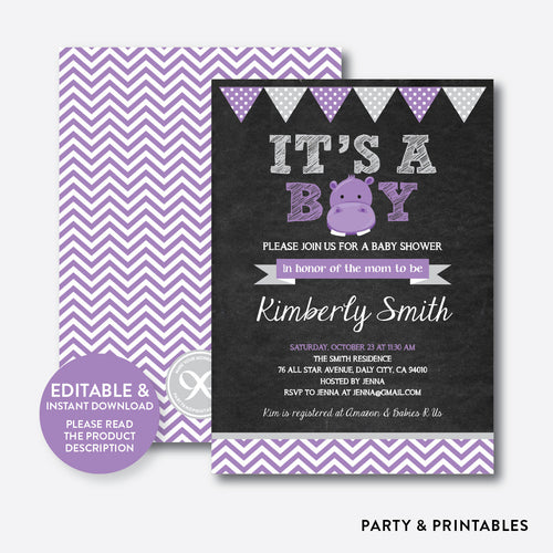 Baby Hippo Chalkboard Baby Shower Invitation / Editable / Instant Download (CBS.14)
