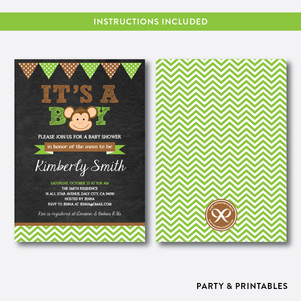 Baby Monkey Chalkboard Baby Shower Invitation / Editable / Instant Download (CBS.15), invitation - Party and Printables