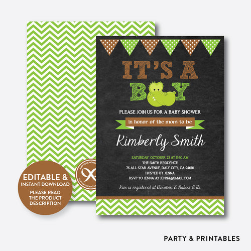 Baby Alligator Chalkboard Baby Shower Invitation / Editable / Instant Download (CBS.16)
