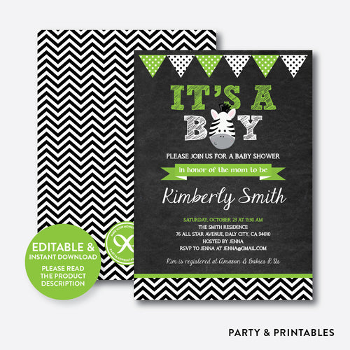 Baby Zebra Chalkboard Baby Shower Invitation / Editable / Instant Download (CBS.17)