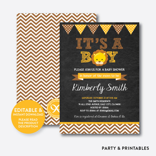Baby Lion Chalkboard Baby Shower Invitation / Editable / Instant Download (CBS.18)