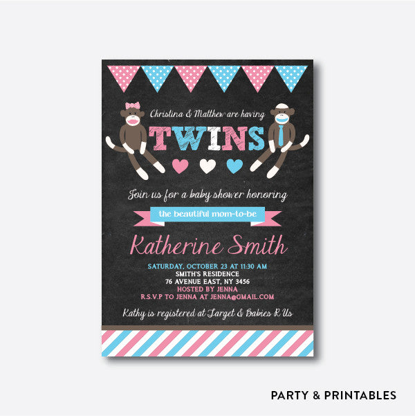 Twins Sock Monkey Chalkboard Baby Shower Invitation / Personalized (CBS.29), invitation - Party and Printables