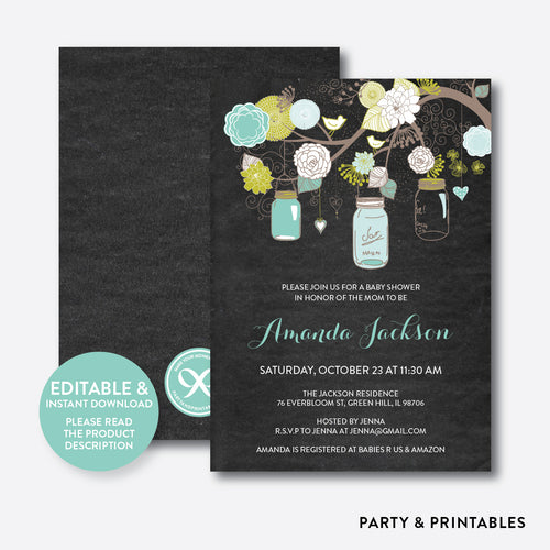 Floral Mason Jar Mint Chalkboard Baby Shower Invitation / Editable / Instant Download (CBS.30)