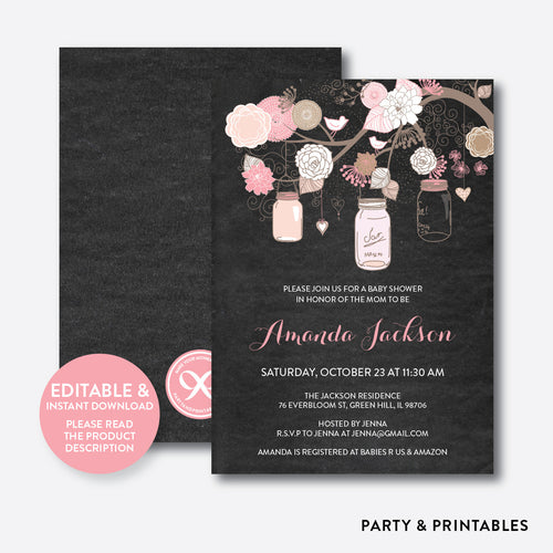 Floral Mason Jar Chalkboard Baby Shower Invitation / Editable / Instant Download (CBS.31)