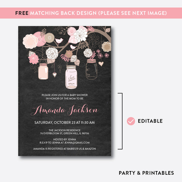 Floral Mason Jar Chalkboard Baby Shower Invitation / Editable / Instant Download (CBS.31), invitation - Party and Printables