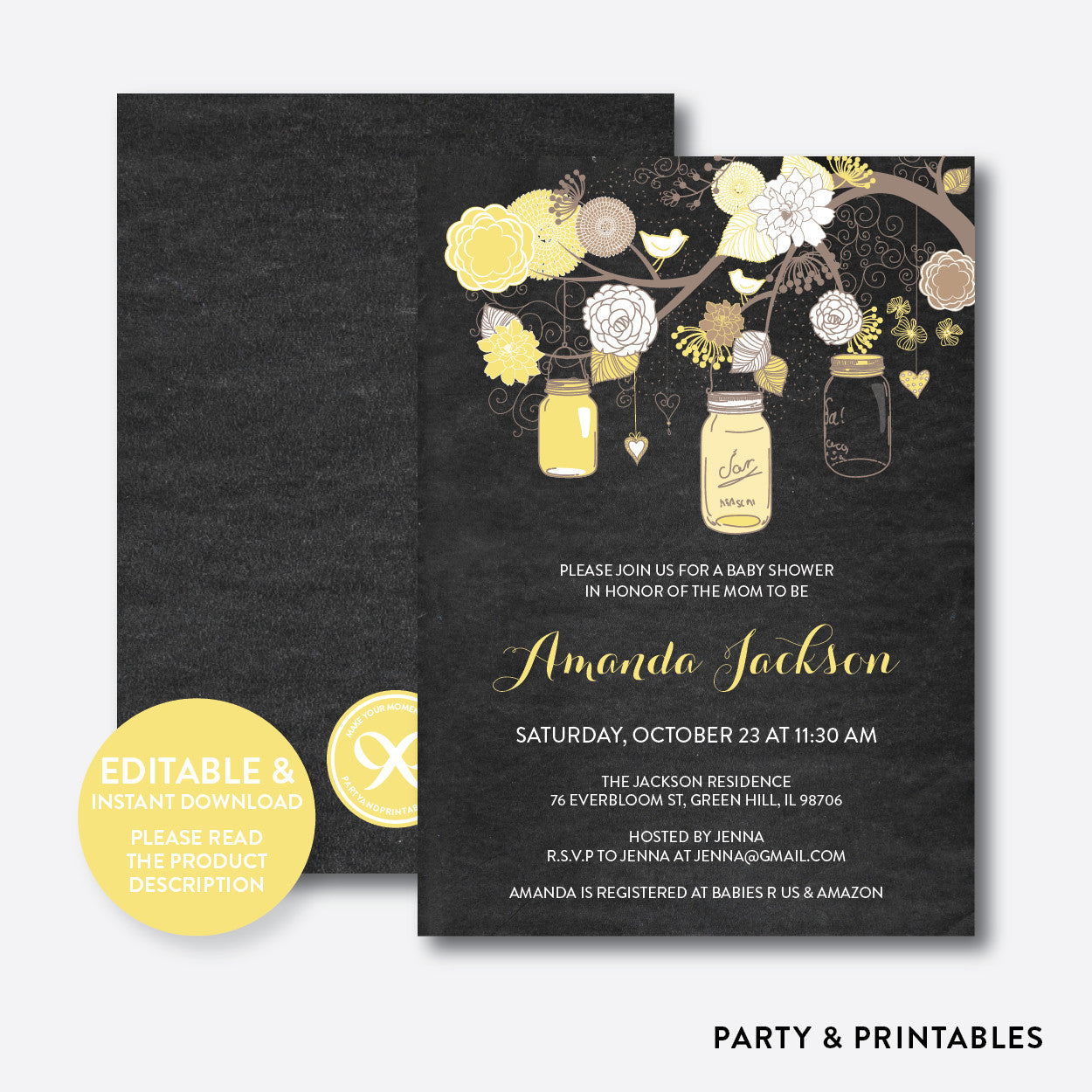 Floral Mason Jar Chalkboard Baby Shower Invitation / Editable / Instant Download (CBS.32), invitation - Party and Printables
