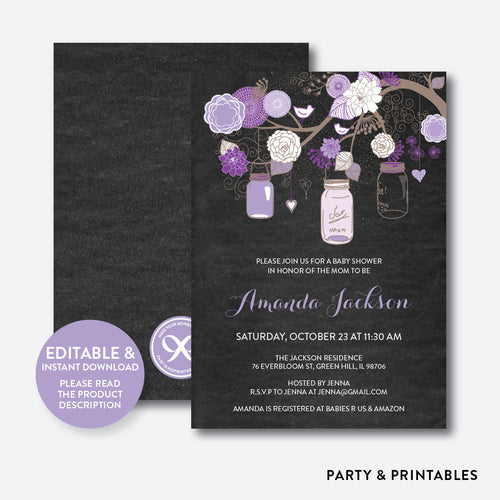 Floral Mason Jar Purple Chalkboard Baby Shower Invitation / Editable / Instant Download (CBS.33)