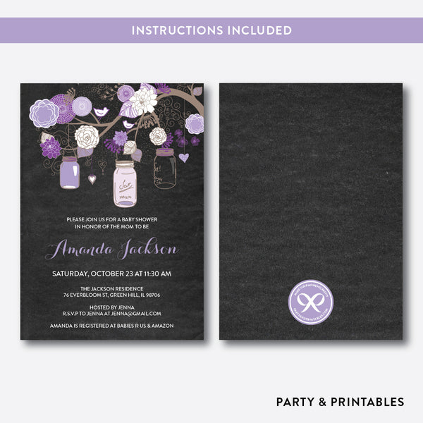 Floral Mason Jar Chalkboard Baby Shower Invitation / Editable / Instant Download (CBS.33), invitation - Party and Printables