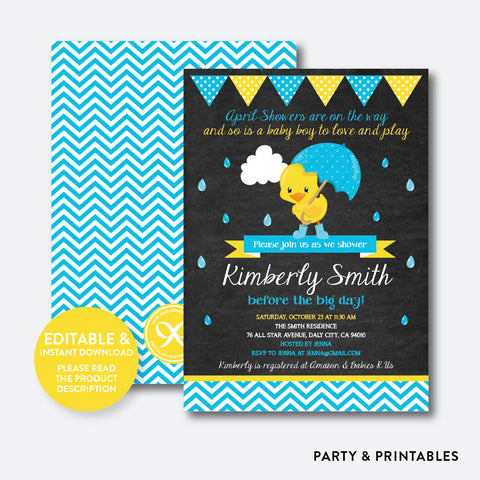 April Shower Blue Duck Chalkboard Baby Shower Invitation / Editable / Instant Download (CBS.34)
