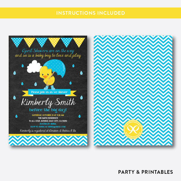 April Shower Duck Chalkboard Baby Shower Invitation / Editable / Instant Download (CBS.34), invitation - Party and Printables