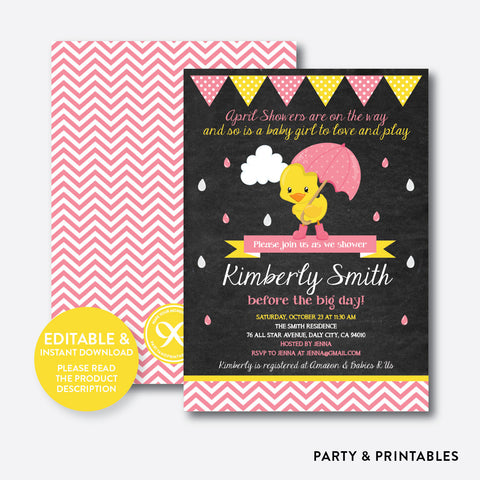 April Shower Pink Duck Chalkboard Baby Shower Invitation / Editable / Instant Download (CBS.35)