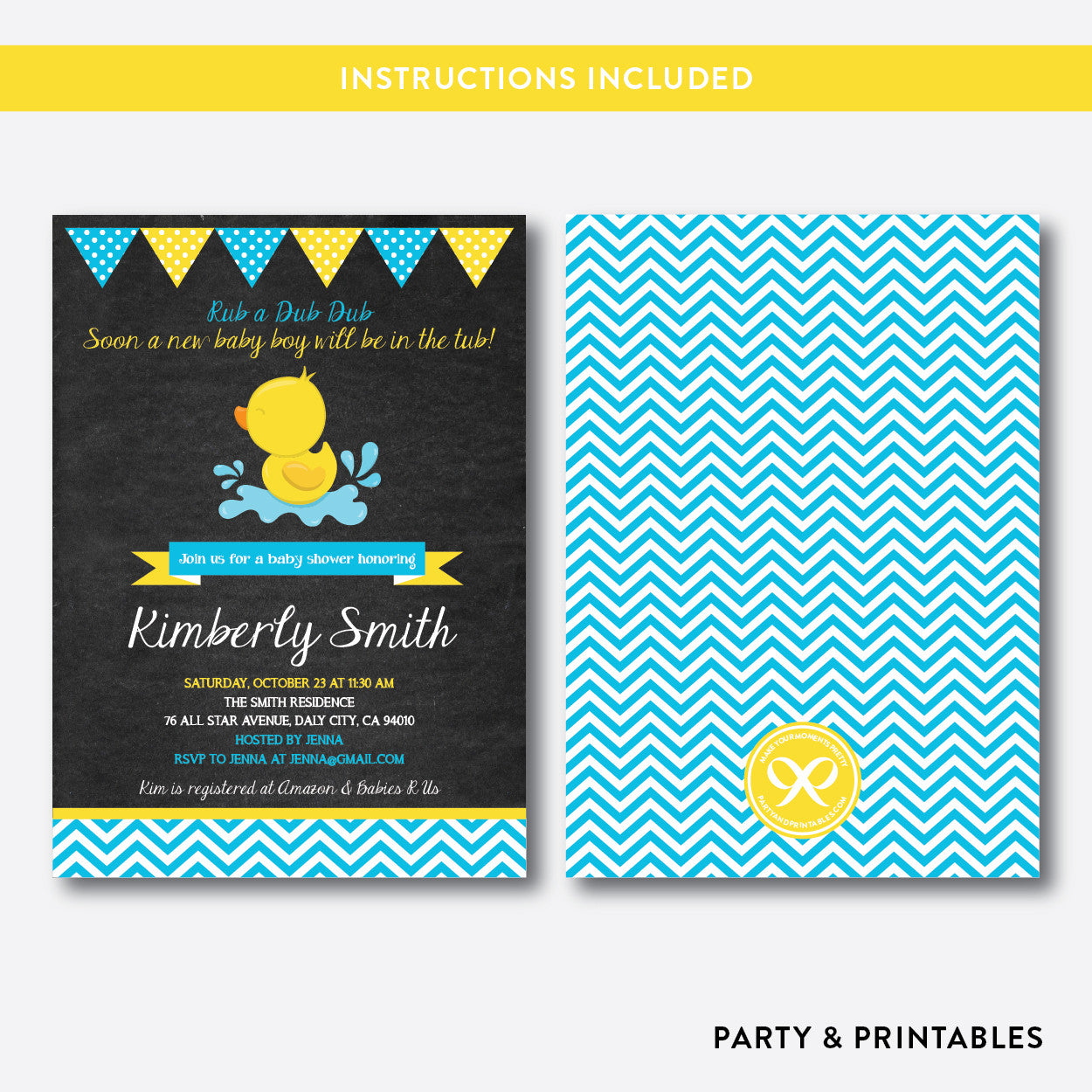Duck Chalkboard Baby Shower Invitation / Editable / Instant Download (CBS.36), invitation - Party and Printables