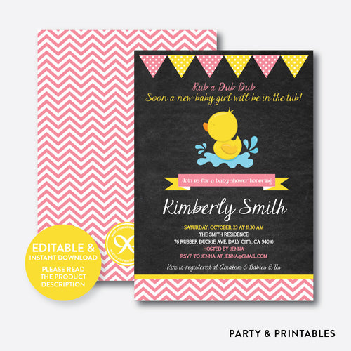 Duck Chalkboard Baby Shower Invitation / Editable / Instant Download (CBS.37)