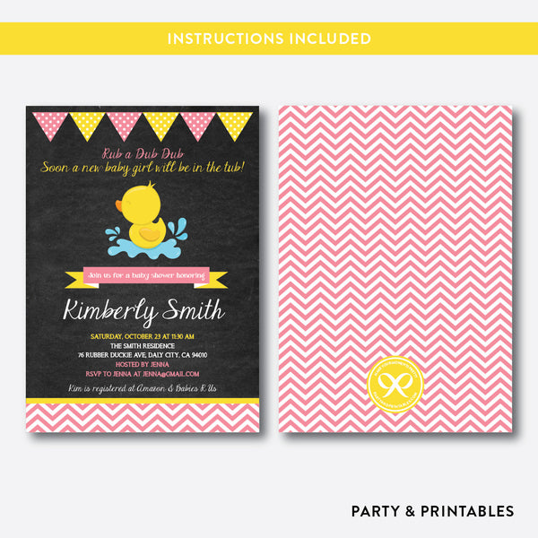 Duck Chalkboard Baby Shower Invitation / Editable / Instant Download (CBS.37), invitation - Party and Printables