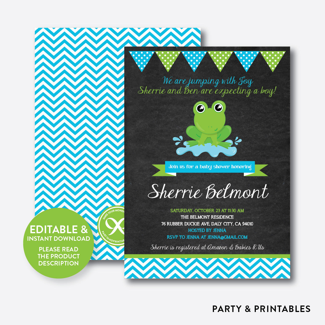 Frog Chalkboard Baby Shower Invitation / Editable / Instant Download (CBS.38), invitation - Party and Printables