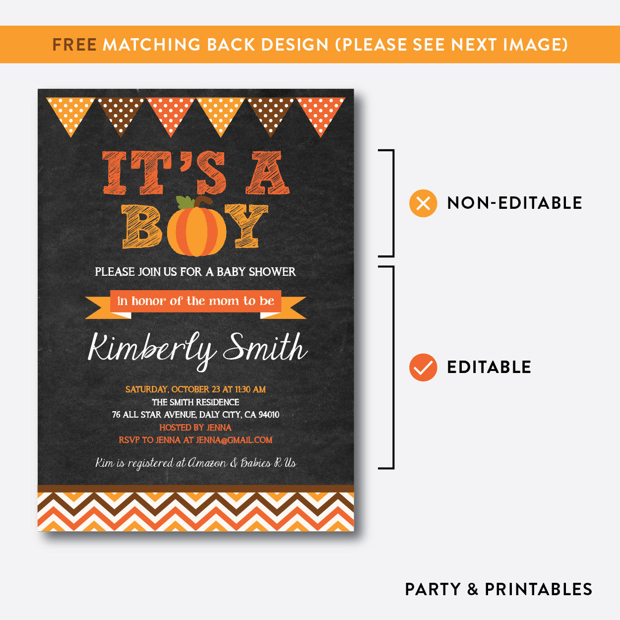 Pumpkin Chalkboard Baby Shower Invitation / Editable / Instant Download (CBS.39), invitation - Party and Printables