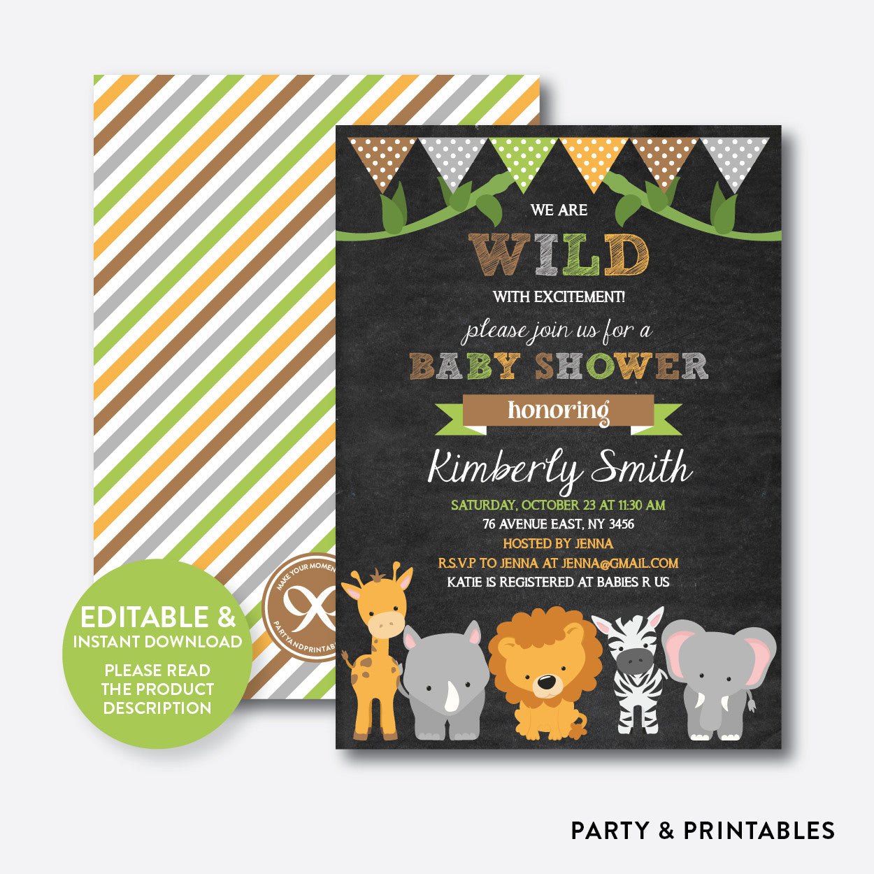 Baby Safari Chalkboard Baby Shower Invitation / Editable / Instant ...