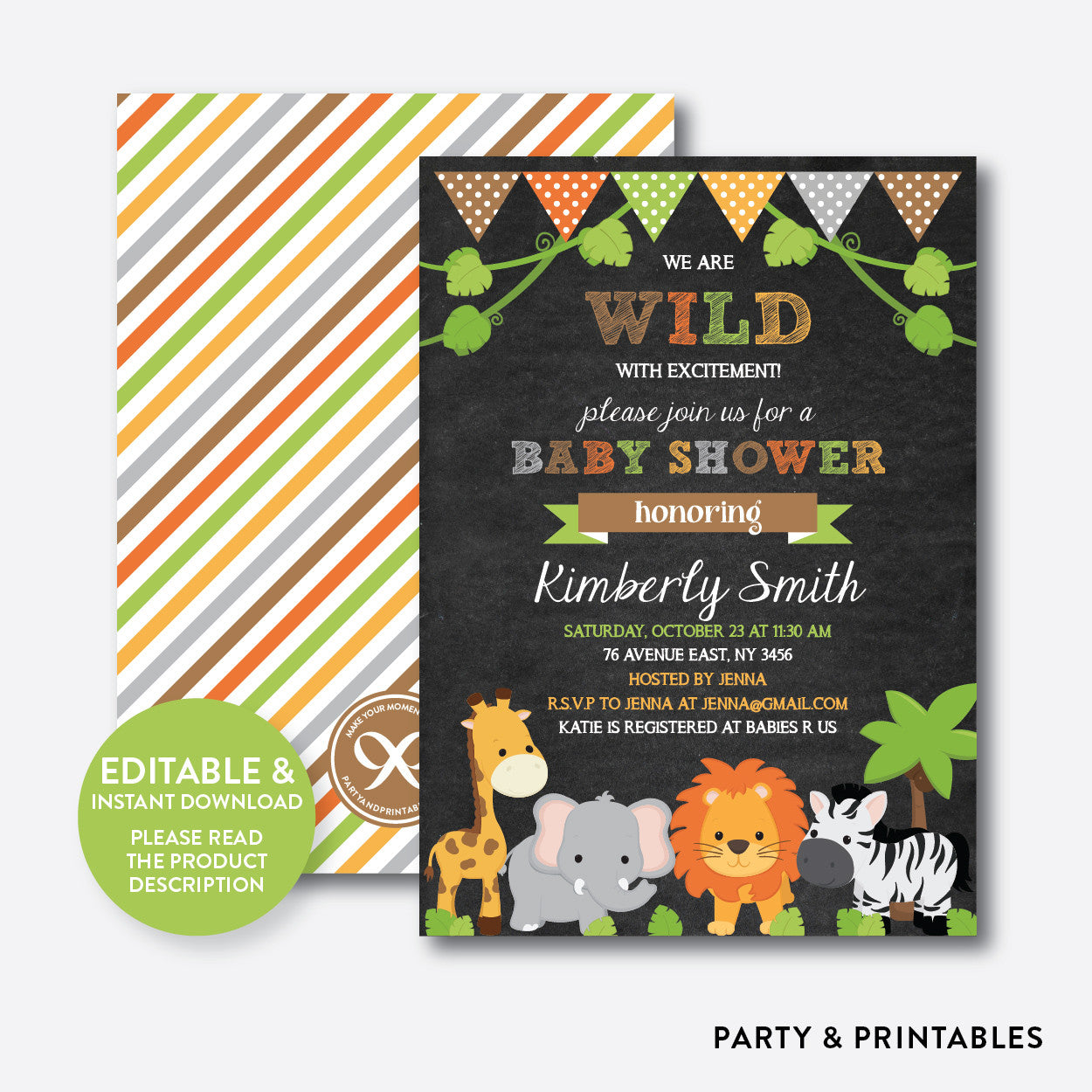 Wild Safari Chalkboard Baby Shower Invitation / Editable / Instant ...