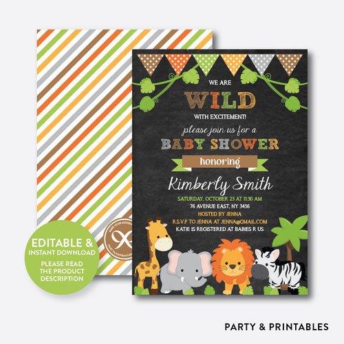 Wild Safari Chalkboard Baby Shower Invitation / Editable / Instant Download (CBS.42)