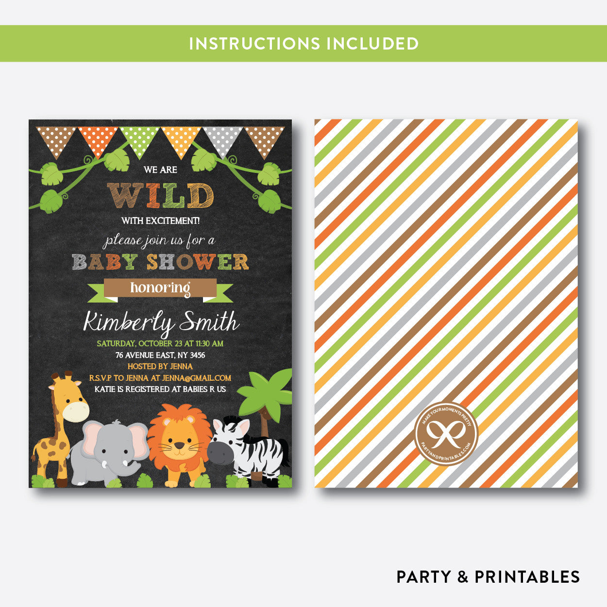 Wild Safari Chalkboard Baby Shower Invitation / Editable / Instant Download (CBS.42), invitation - Party and Printables