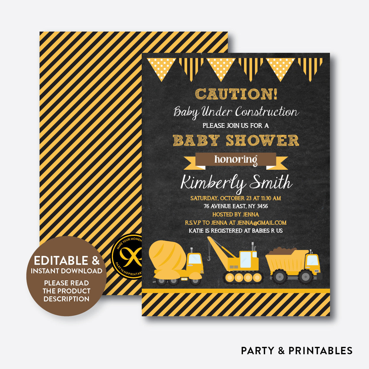 Construction Chalkboard Baby Shower Invitation / Editable / Instant Download (CBS.44)