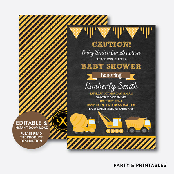 Construction Chalkboard Baby Shower Invitation / Editable / Instant Download (CBS.44), invitation - Party and Printables