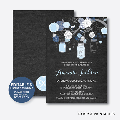 Floral Mason Jar Blue Chalkboard Baby Shower Invitation / Editable / Instant Download (CBS.46)