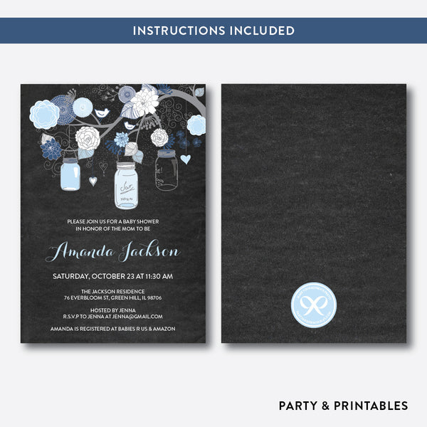 Floral Mason Jar Chalkboard Baby Shower Invitation / Editable / Instant Download (CBS.46), invitation - Party and Printables