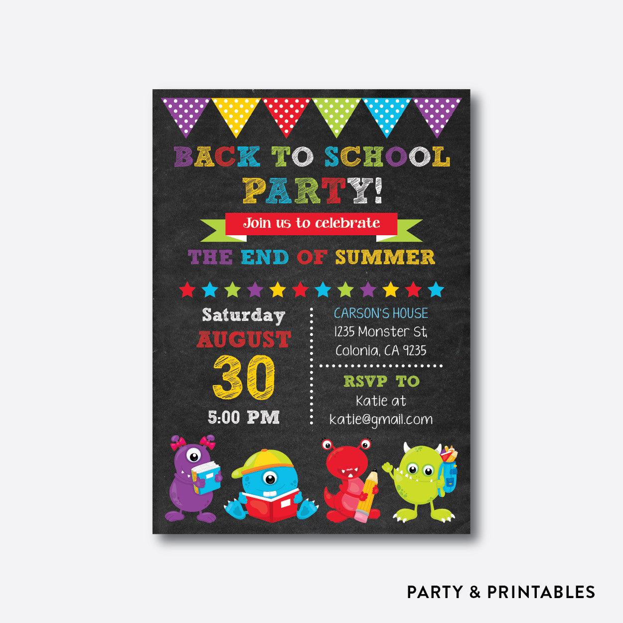 Monsters Chalkboard Back To School Party Invitation / Personalized (CBTS.01), invitation - Party and Printables