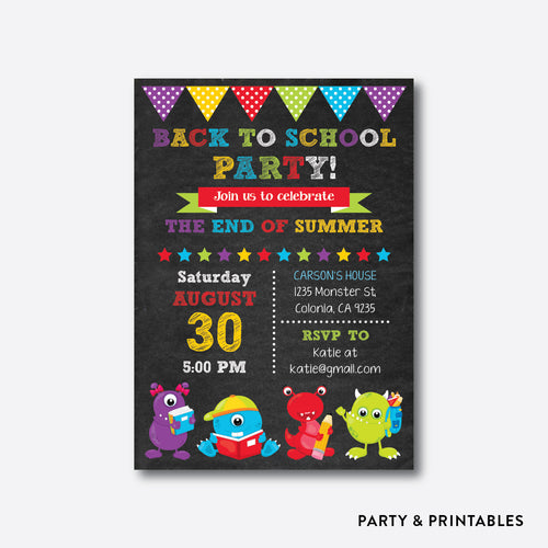 Monsters Chalkboard Back To School Party Invitation / Personalized (CBTS.01)