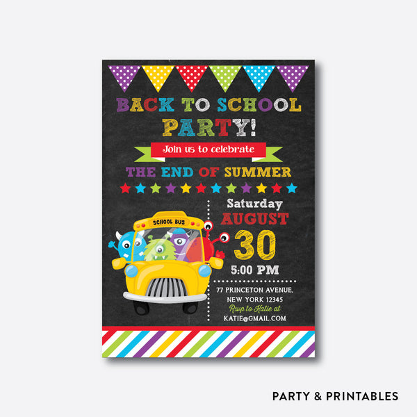 Monsters On The School Bus Chalkboard Back To School Party Invitation / Personalized (CBTS.02), invitation - Party and Printables