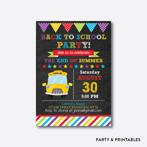 School Bus Chalkboard Back To School Party Invitation / Personalized (CBTS.03)