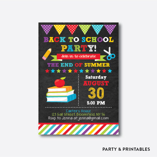 Books and Apple Chalkboard Back To School Party Invitation / Personalized (CBTS.04)