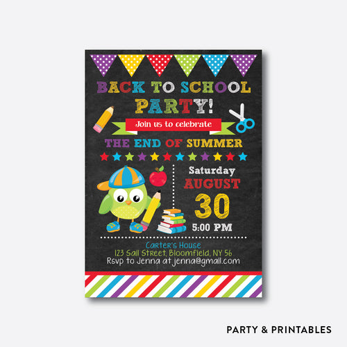 Smart Owl Boy Chalkboard Back To School Party Invitation / Personalized (CBTS.05)