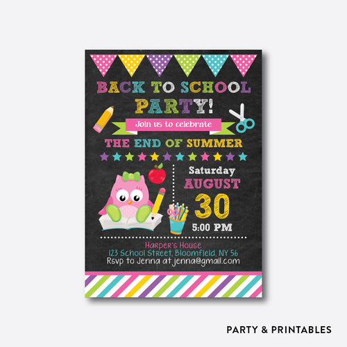 Smart Owl Girl Chalkboard Back To School Party Invitation / Personalized (CBTS.06)