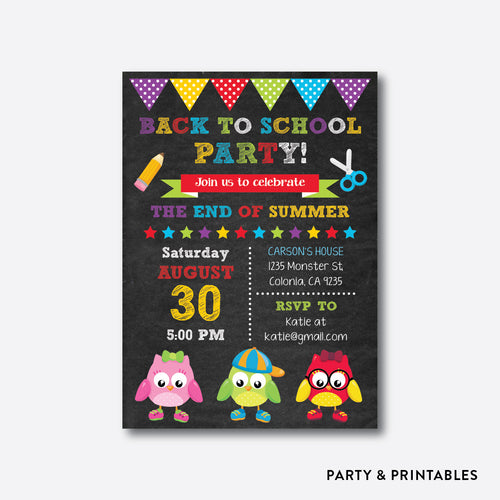 Smart Owls Chalkboard Back To School Party Invitation / Personalized (CBTS.08)