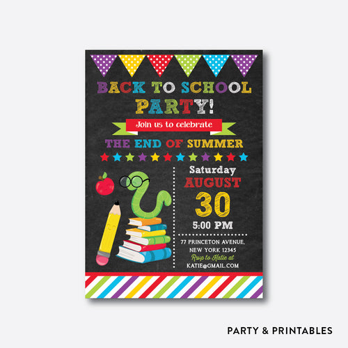 Smart Worm Chalkboard Back To School Party Invitation / Personalized (CBTS.09)