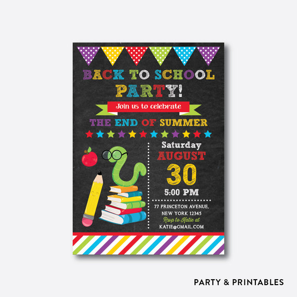 Smart Worm Chalkboard Back To School Party Invitation / Personalized (CBTS.09), invitation - Party and Printables