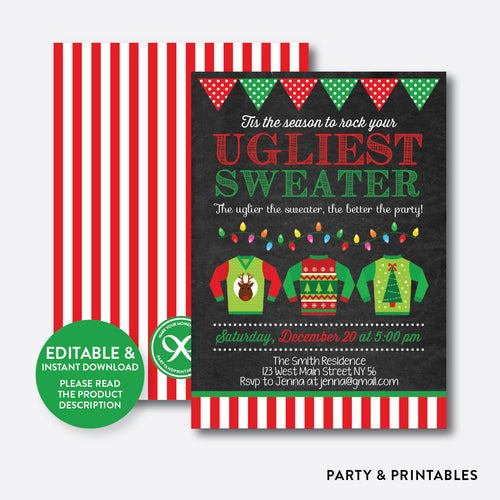 Ugly Sweater Christmas Holiday Invitation / Editable / Instant Download (CHI.01)