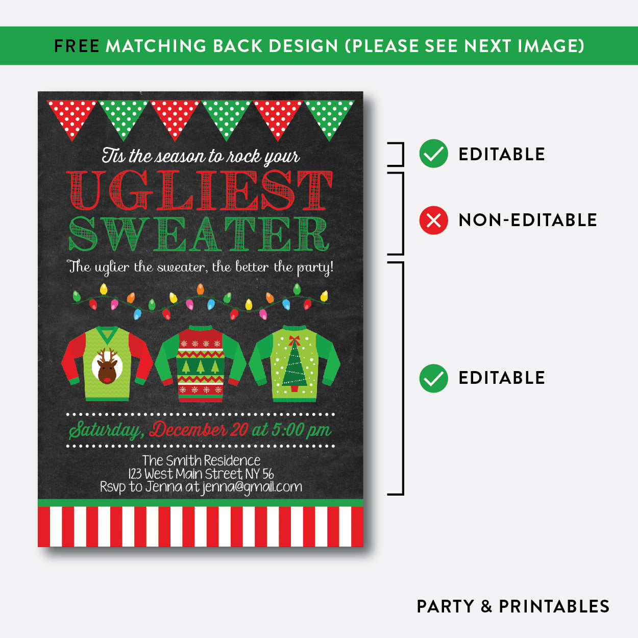 Ugly Sweater Christmas Holiday Invitation / Editable / Instant Download (CHI.01), invitation - Party and Printables