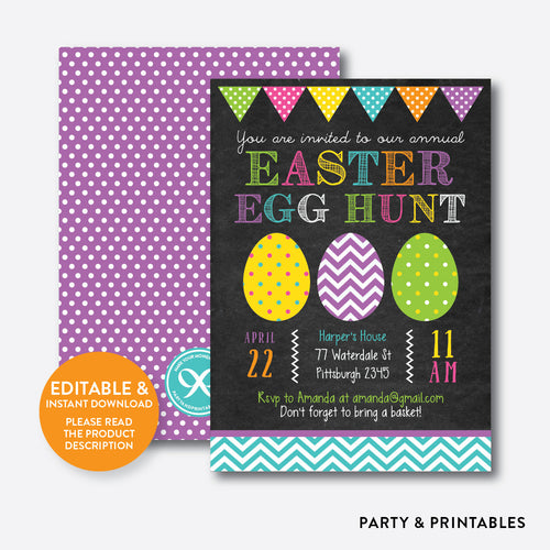 Easter Egg Hunt Holiday Invitation / Editable / Instant Download (CHI.02)