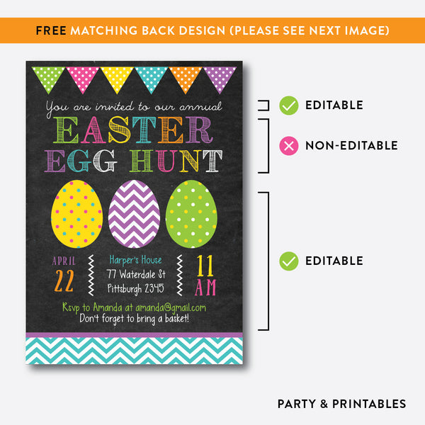 Easter Egg Hunt Holiday Invitation / Editable / Instant Download (CHI.02), invitation - Party and Printables
