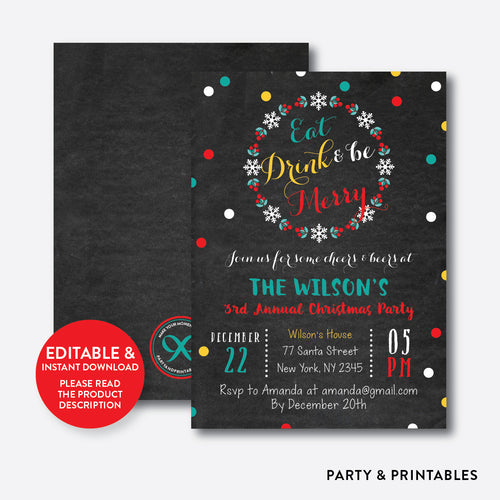 Eat, Drink and Be Merry Christmas Invitation / Editable / Instant Download (CHI.04)
