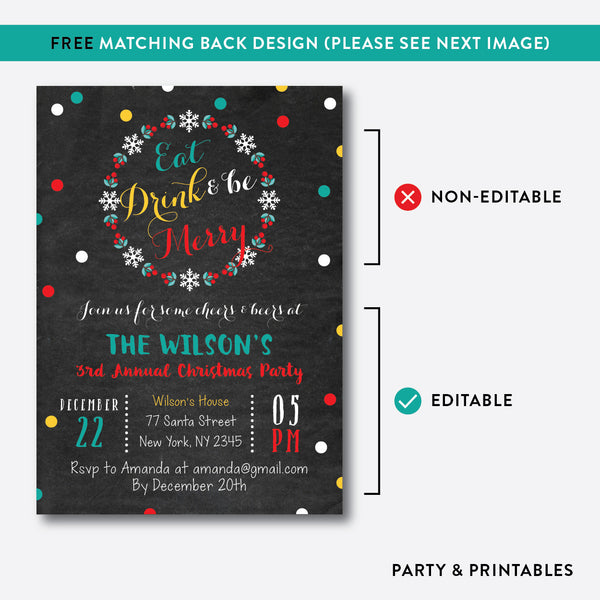 Eat, Drink and Be Merry Christmas Invitation / Editable / Instant Download (CHI.04), invitation - Party and Printables