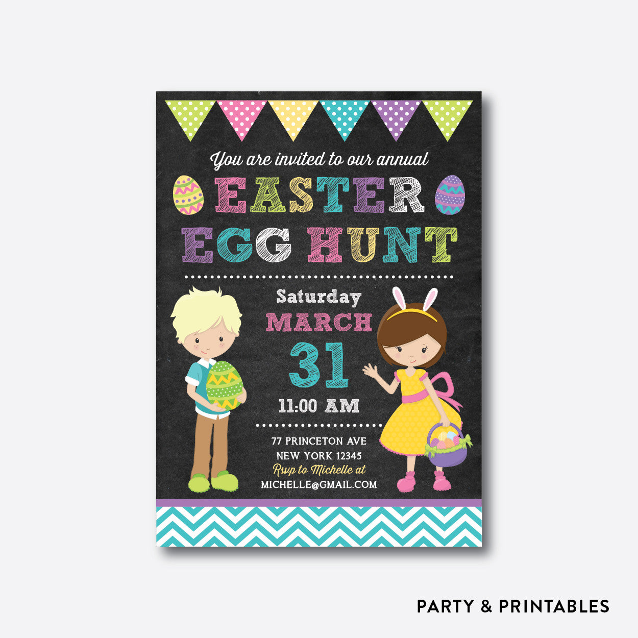 Easter Egg Hunt Holiday Invitation / Personalized (CHI.06), invitation - Party and Printables