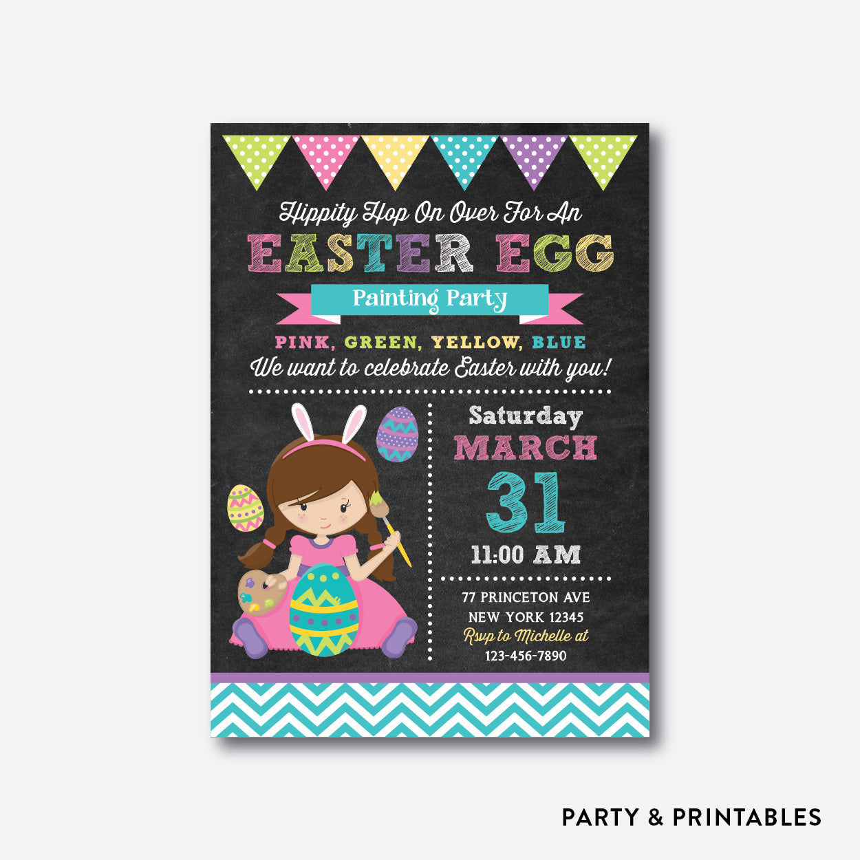 Easter Egg Painting Party Holiday Invitation / Personalized (CHI.08), invitation - Party and Printables