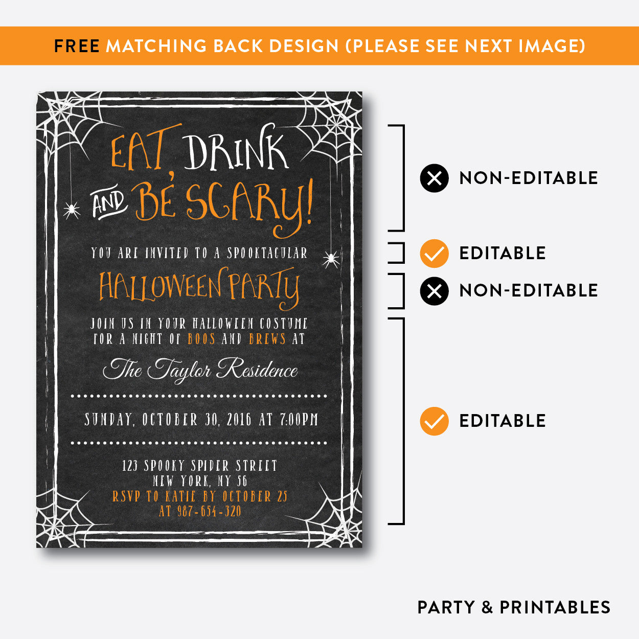 Eat, Drink and Be Scary Halloween Invitation / Editable / Instant Download (CHI.12), invitation - Party and Printables