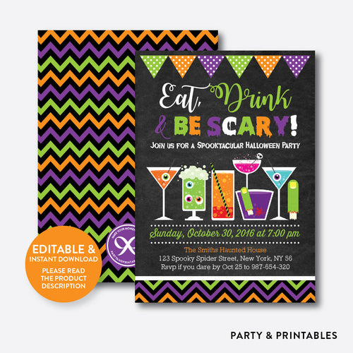 Eat, Drink and Be Scary Halloween Invitation / Editable / Instant Download (CHI.13)
