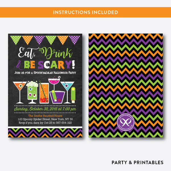 Eat, Drink and Be Scary Halloween Invitation / Editable / Instant Download (CHI.13), invitation - Party and Printables