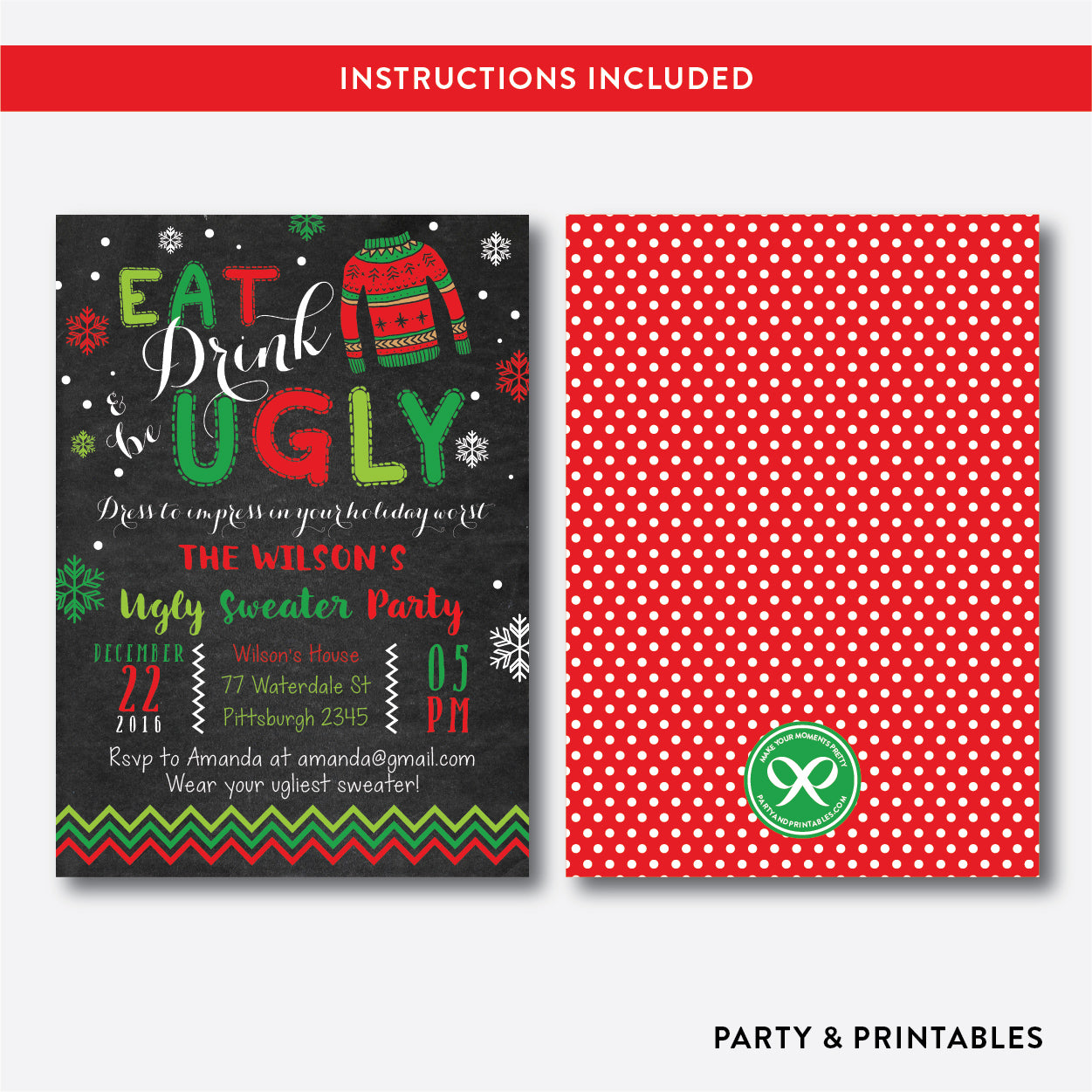 Eat, Drink and Be Ugly Christmas Holiday Invitation / Editable / Instant Download (CHI.14), invitation - Party and Printables